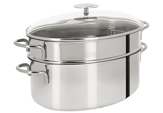 Cuit vapeur ovale inox mutine fixe casseroles cristel - Panier cuit vapeur inox ...