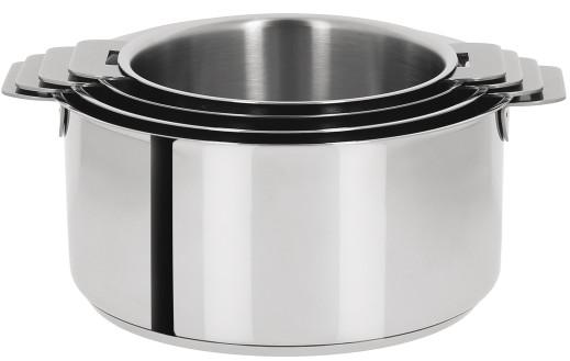 s rie de 4 casseroles inox mutine amovible casseroles cristel. Black Bedroom Furniture Sets. Home Design Ideas