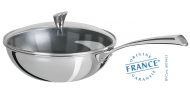 Stainless wok - Exceliss non-stick coating- Fixed Casteline - Cristel